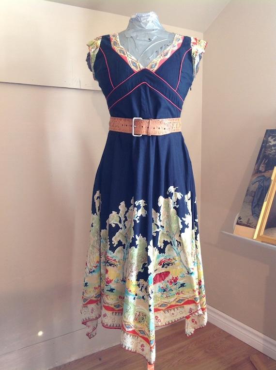 Vintage 90s/Robe René Derhy/SouthWest Cotton Dress