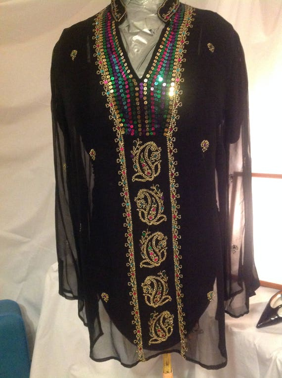 silk yarn Indian 1980 Vintage and chiffon evening outfit women for sequins s tunic ceremonial Golden tunic Boho embroidery Chic 0nrdxB0P