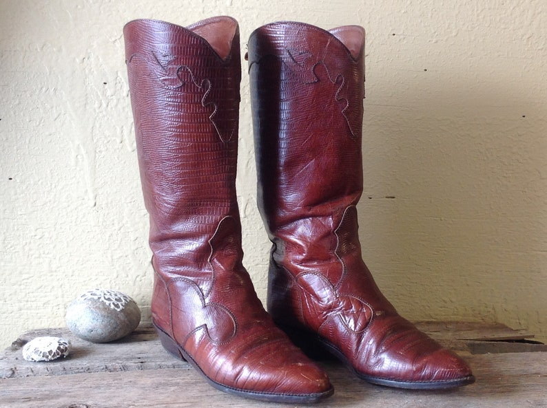 Women/'s western bootsall leather reptileCowgirlmade in Italysz 36 UE6 UShigh bootsTerra cottastreetweartrendy 2019