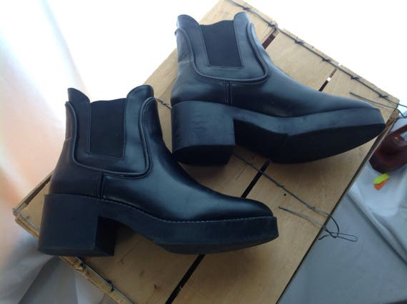 black boots Rider Chunky Grunge Shoes block women leather Boho heel genuine Boots Chelsea booties Anckle nZ870Zwtq