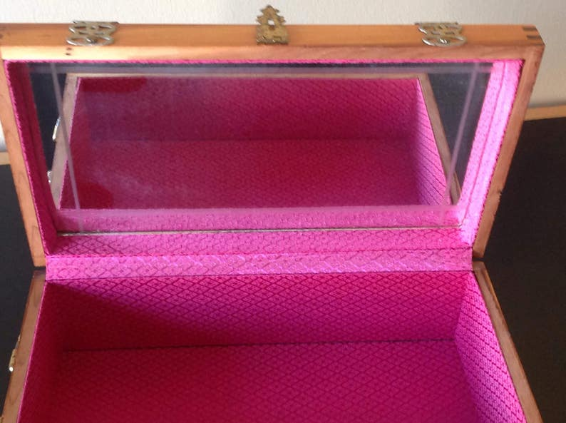BoxCabinetwooden jewelry boxvintage 1940Interior rose fabric and beveled mirrorMaple brassMaplewood brass