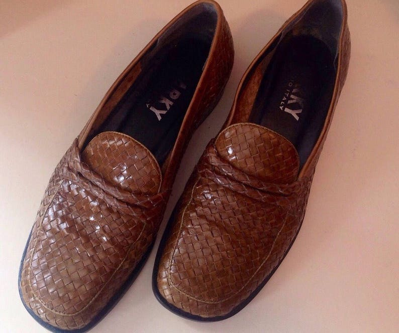 16659312bdeea Women's loafers shoes/vintage 1990/genuine braided leather/marron/NARKY  STUDIO ITALY