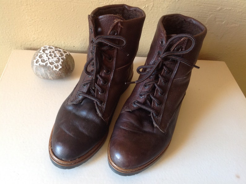 Boot Leather Made in Italy women/'s clothing  1990lining vintage faux fursize 38Boho hiking received go