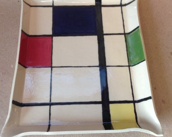 Plate/tray ceramic rectangle inspired by Mondrian/Catchall/service/center table/large trinket/dish-jewelry/tray appetizers
