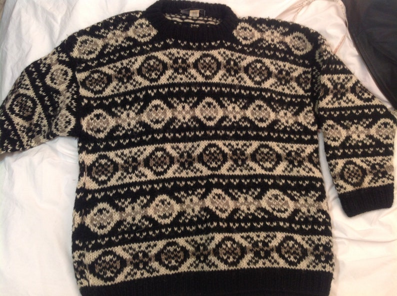 Father/'s daymen/'s pure wool sweater ALMA\u00aehandmade in Nepalround neckgrey black whiteXL sizeoversizedbohosport