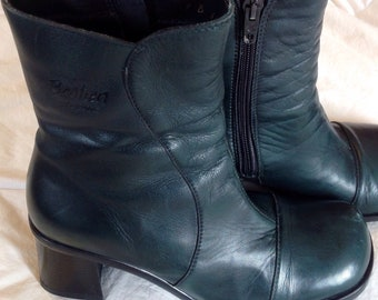 Boots leather/shoes heels blocks / water proof Bastien / Hunter Green / size 37