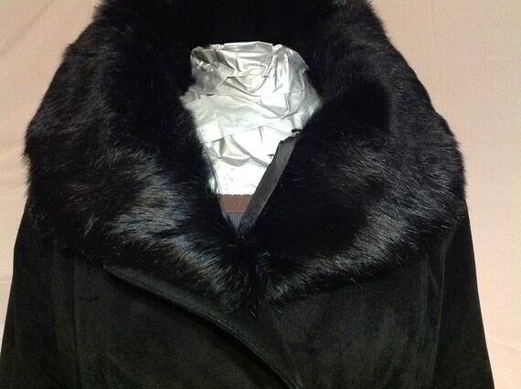 lining trench coat Belt Black Vintage Sweden black set 1990s Sweden Cup Duster Suede 4qna68Uxw