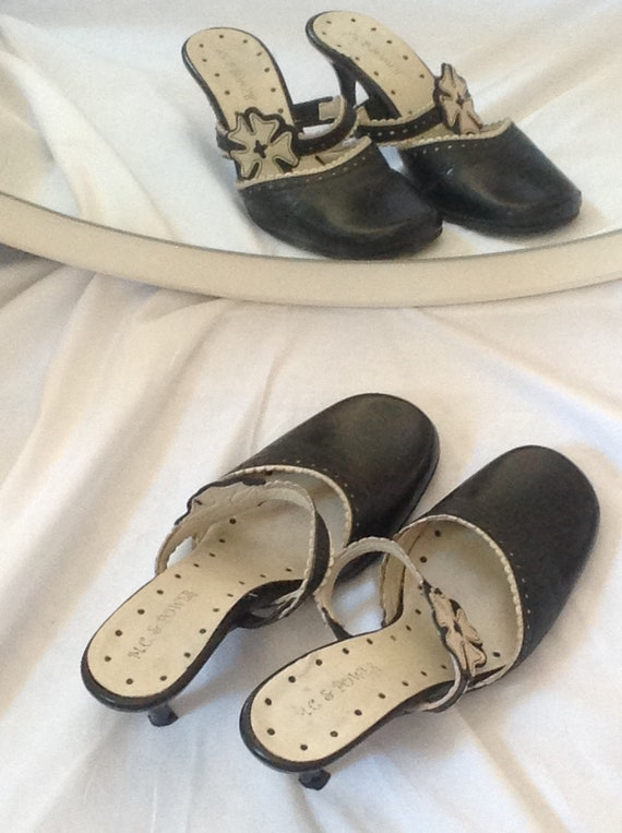 closed for heels black Fleur 's white vintage leather lanyard lace in style genuine end and border 7 Size 1970 Babies women Mules 5 ZqdwP5Z