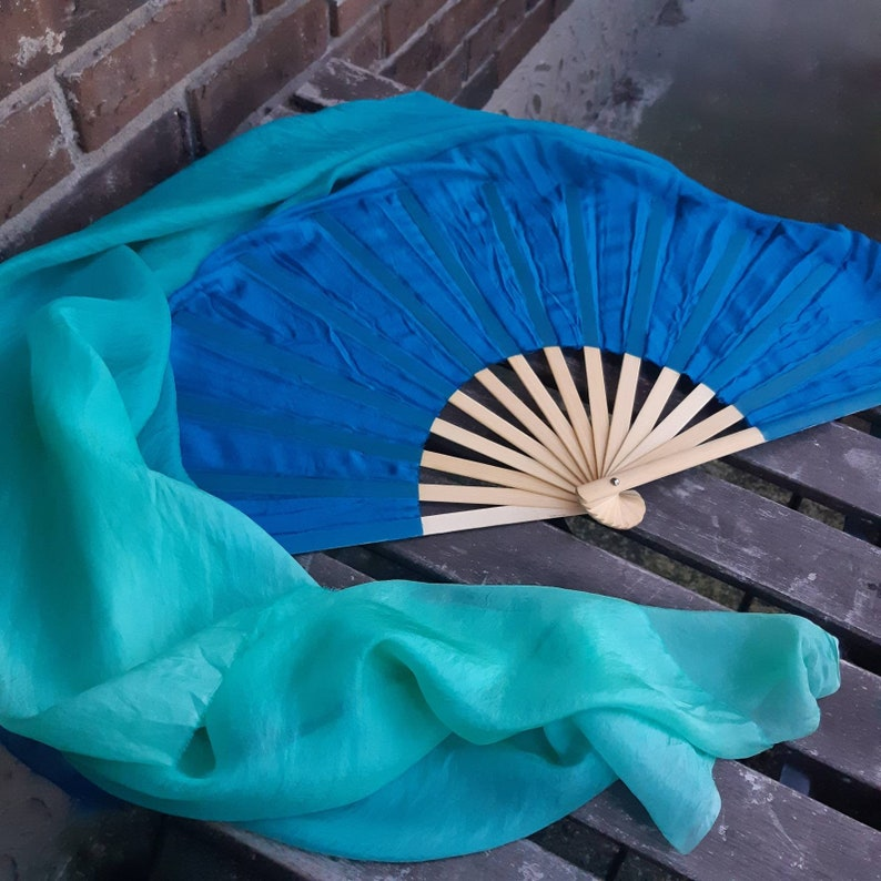 45 Aquamarine  Silk Veil Fans in Blue Ombre  Ready to Ship