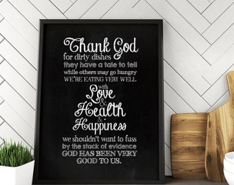 Thank God for Dirty Dishes, thank heaven for dirty dishes, kitchen wall decor, chalkboard art, chalkboard sign,