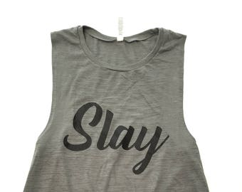 Slay Muscle Tank Top, Olive Slub Knit Tank Top, Loose Fit Tank Top, Workout Tank Top, Gym Muscle Tee, Every Day Muscle Tank, Graphic Print