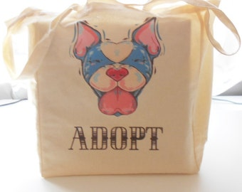 8oz Cotton Canvas Adopt A Pup Tote Bag, Dog Rescue Tote, Yoga Bag, Workout Bag, Animal Lover Tote Bag, Natural Tote, Dog Lover Tote Bag