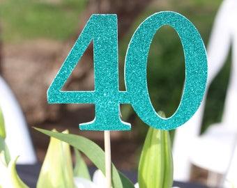 40 Centerpiece Picks, Glitter Forty on a Stick, 40th Birthday Centerpiece Sticks, Forty Sticks, Forty Centerpiece Sticks (3 Count)