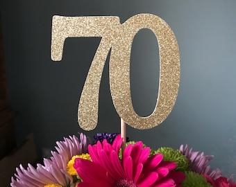 70 Centerpiece Picks, Glitter Seventy on a Stick, 70th Birthday Centerpiece Sticks, Seventy Sticks, Seventy Centerpiece Sticks (3 Count)
