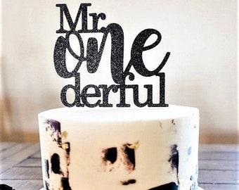 Mr Onederful Cake Topper. Boy First Birthday Cake Topper. Mr Wonderful Cake Topper. First Birthday Cake Decoration. Little Man Theme.