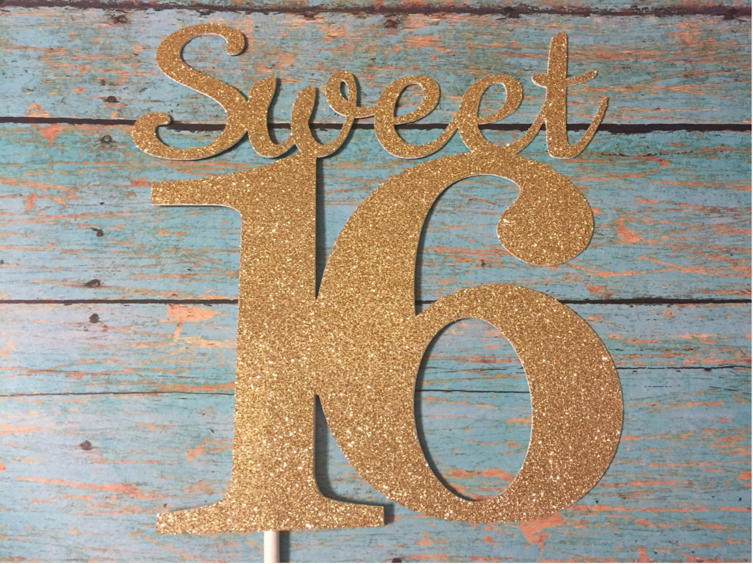 Sweet 16 Cake Topper Sweet Sixteen Cake Topper Gold Sweet 16 Etsy