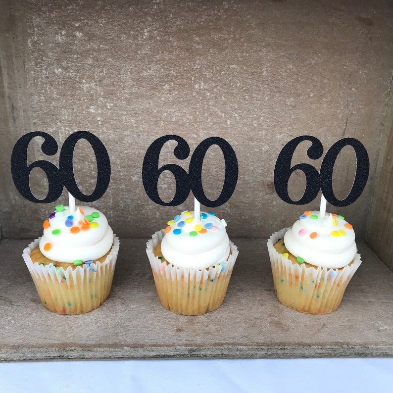 60 Cupcake Toppers 60th Birthday Sixty Sixtieth Cupcakes Anniversary
