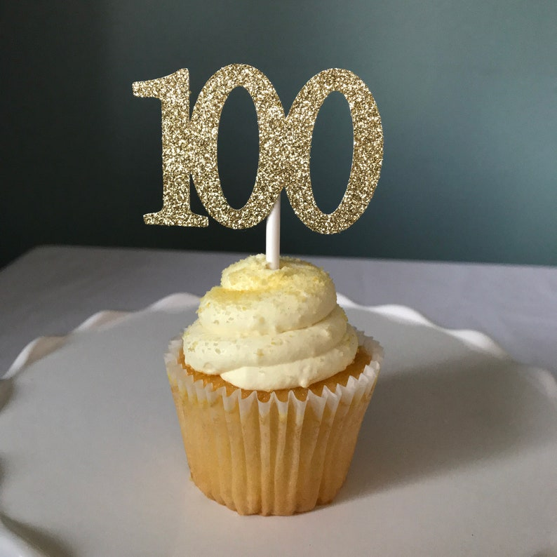 100 Cupcake Topper 100th Birthday Toppers Age One
