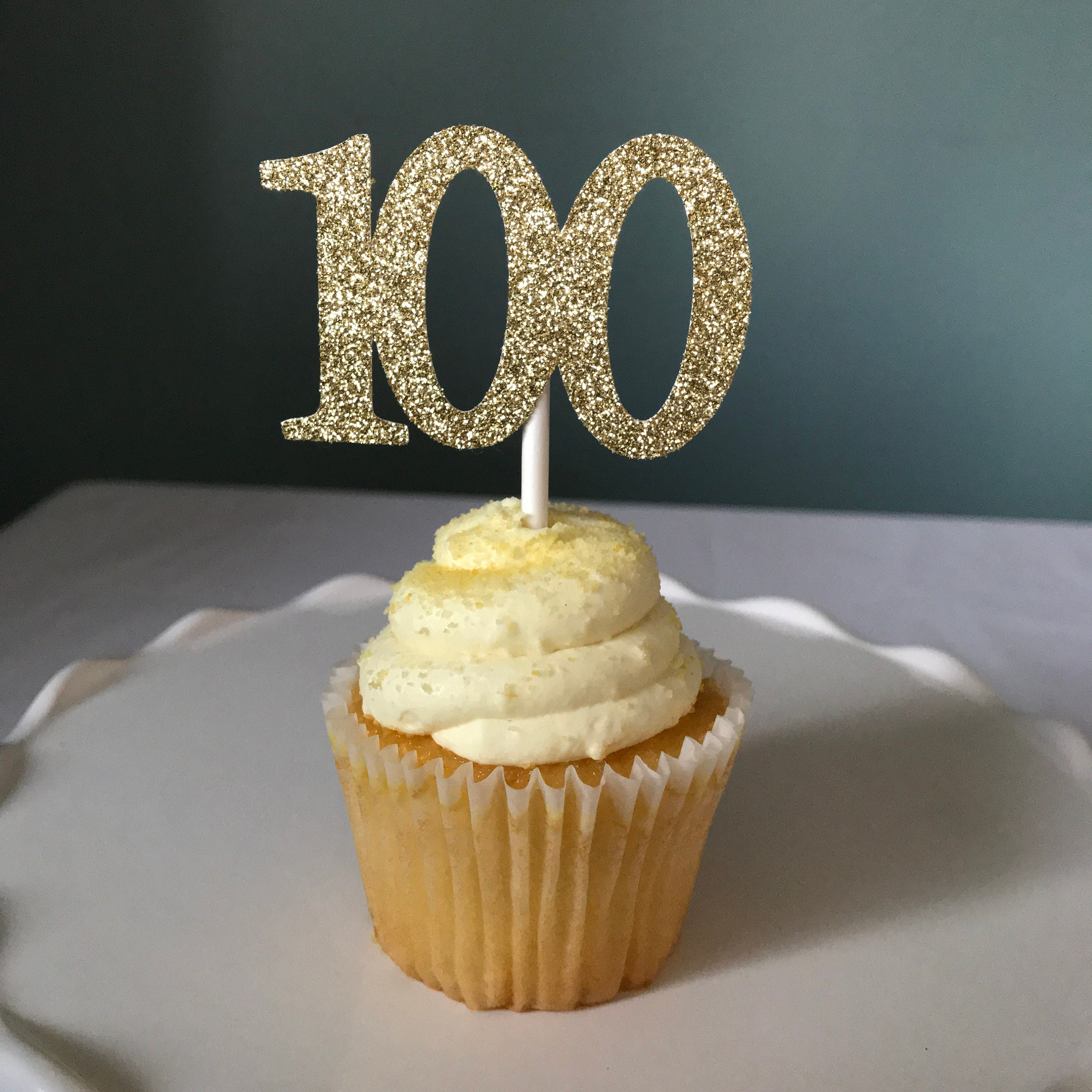 100 Cupcake Topper 100th Birthday Toppers Age One Hundred Topp
