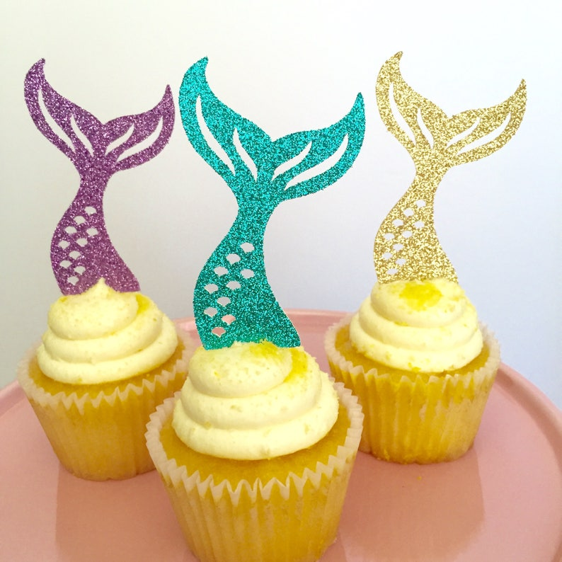 Mermaid Cupcake Toppers. Mermaid Tail Decorations. Under the image 0