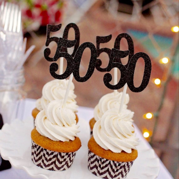 50 Cupcake Toppers 50th Birthday Fifty Fiftieth Cupcakes Anniversary