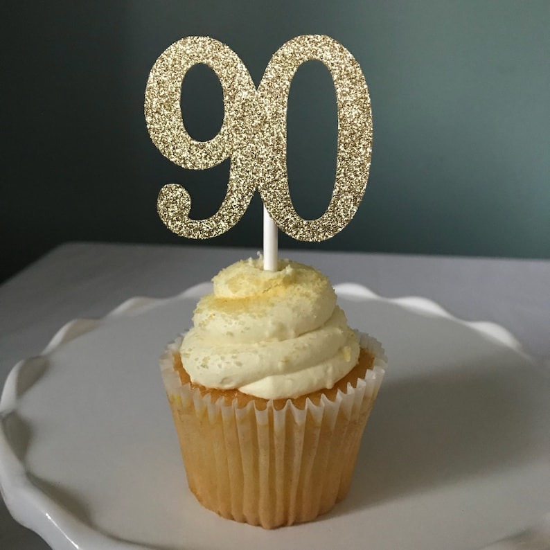 90 Cupcake Toppers 90th Birthday Ninety