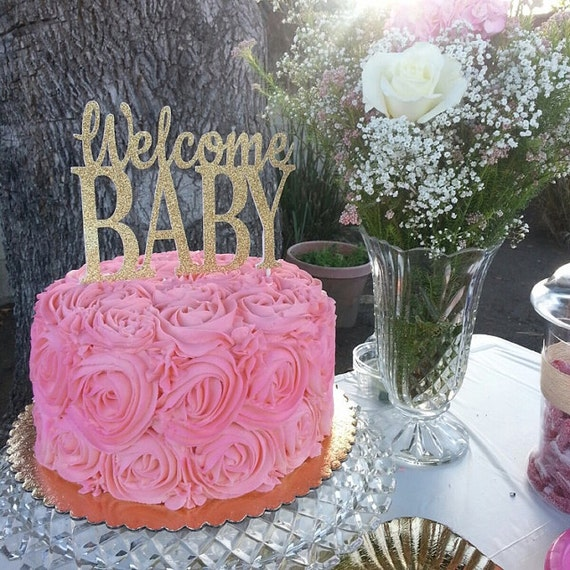 Https Www Etsy Com Listing  Welcome Baby Cake Topper Gold Baby