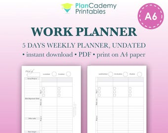 Weekly Work Planner | A6 Filofax inserts | Project Planner | Weekly Organizer | Productivity Planner | Undated | printable | Schedule
