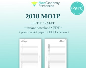 2018 monthly planner | personal size | Filofax mo1p in list format | menu planning | project planning