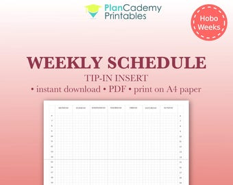 Weekly schedule tip-in for Hobonichi Weeks | Add-on | grid