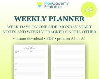 Weekly planner | A5 size Filofax inserts | disc bound planner | weekly planning | wo2p | undated | instant download