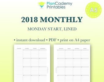 2018 monthly planner | A5 size | Filofax mo2p | with lines