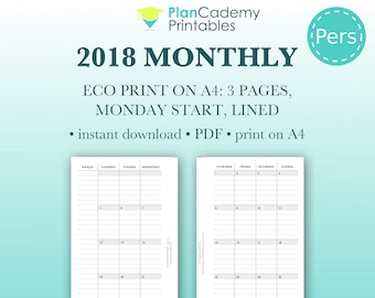 2018 monthly planner | personal size | Filofax mo2p | with lines