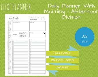 Flexi planner | A5 size filofax inserts | Daily Planner with schedule, routines, morning and afternoon tasks | undated | instant download