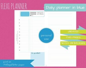 Flexi planner - personal size filofax inserts - do2p - downloadable - blue design