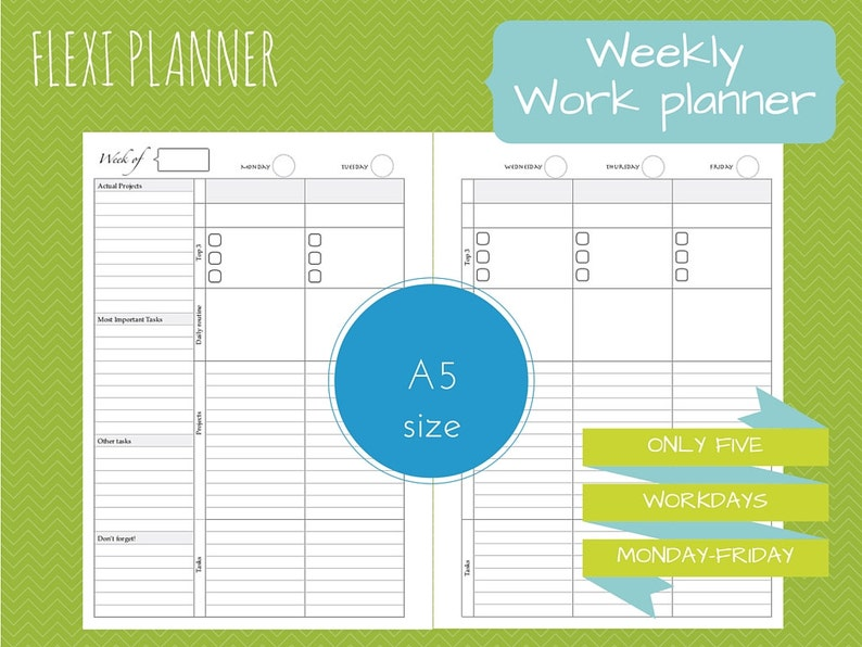 Flexi planner  A5 size filofax inserts  Work planner  image 0
