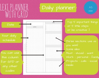 Flexi planner - A5 size filofax inserts - do2p - downloadable
