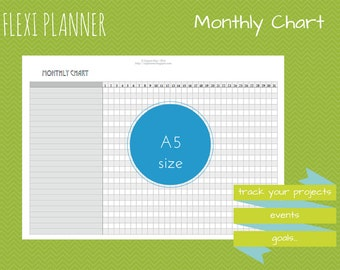 Monthly Chart | Flexi planner | A5 size Filofax inserts | Mothly planning | instant download | arc ringbound discbound