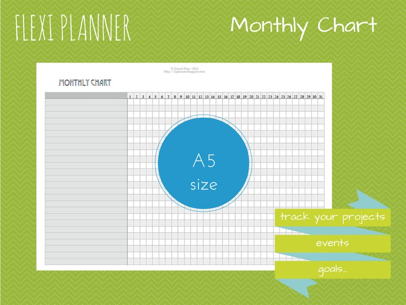 Monthly Chart  Flexi planner  A5 size Filofax inserts  image 0
