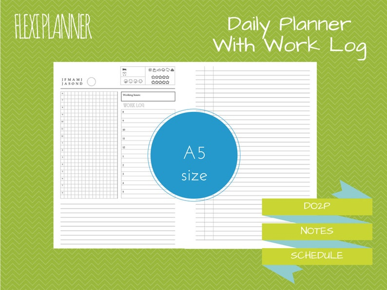 Flexi planner  A5 size filofax inserts  Daily planner with image 0
