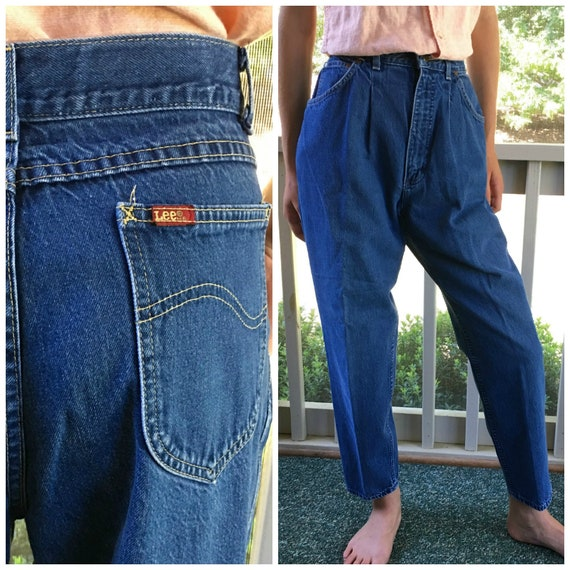 Vintage 80s Pleated High Waist Jeans Tapered Leg D