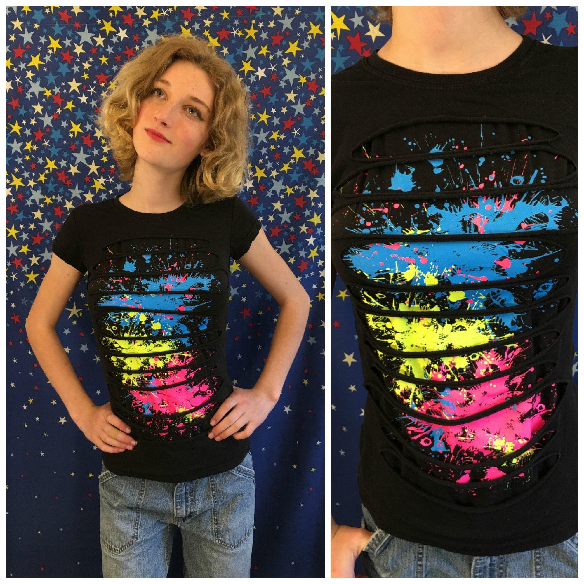 80s 90s Paint Spatter T Shirt S Vintage Black Cotton Etsy