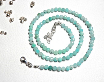 Fine and delicate light blue Amazonites faceted solid silver