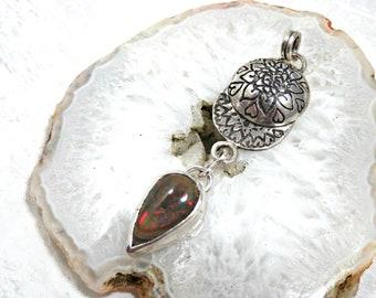 Black solid silver black opal pendant, ethnic pendant, subtle black opal pendant in solid silver