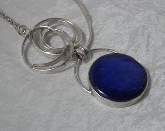 Contemporary lapis lazuli Solid Silver necklace, design and original necklace, Lapis lazuli midnight blue, silver 925