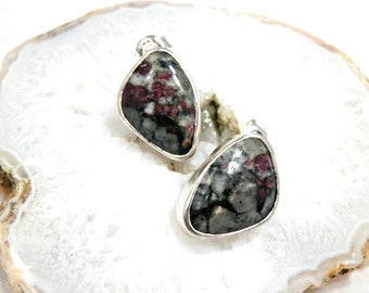 Ruby Fuschiste Earrings Solid Silver, Natural Stone Earrings, Simple and Elegant