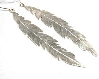 Long earrings massive silver feathers, boho chic, handmade