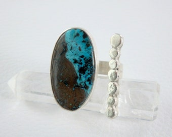 Imposing Ring Shattuckite turquoise blue adjustable solid silver, design, original, unique piece