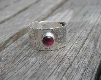Adjustable Sterling Silver 925 Adjustable ring red garnet ring, unique hand carved handmade, poetic and design, customizable
