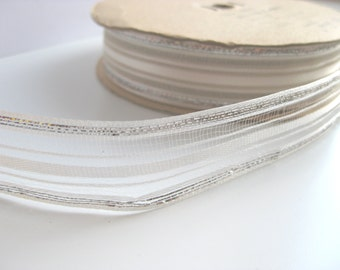 "Vintage - White and Silver Tinsel and Rayon ribbon - 7/8"" - 22 mm"
